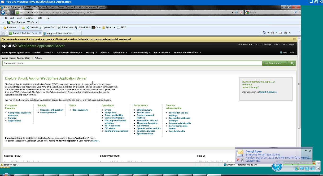 Splunk for WebSphere Overview