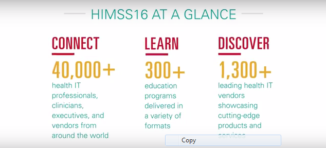 A Sneak Peek of #HIMSS16 in 39 seconds