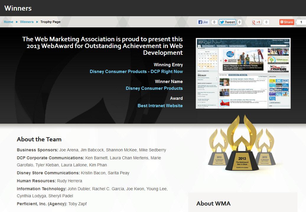 web award Disney